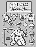 2021-2022 Monthly Planner: Ice Hockey Cover 2 Year Monthly Planner Calendar Agenda Organizer Diary/ 24 Months Schedule With Notebook… Gift For Girls Boys Coaches men women