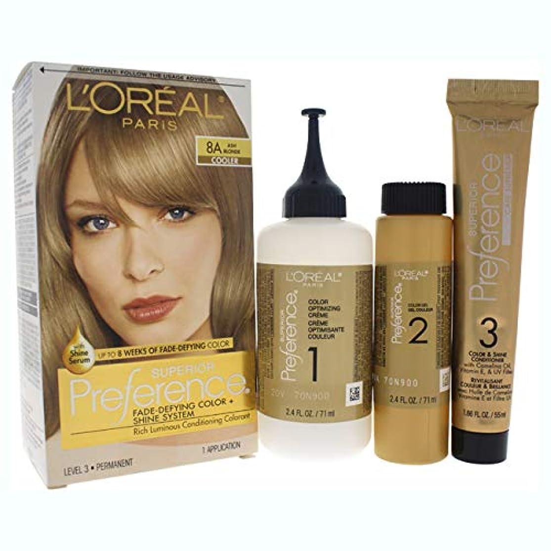 行ミルクフォーマルL'Oreal Paris 県Haircol 8Aサイズ1CTロレアルプリファレンスヘアカラーアッシュブロンド#8(a)