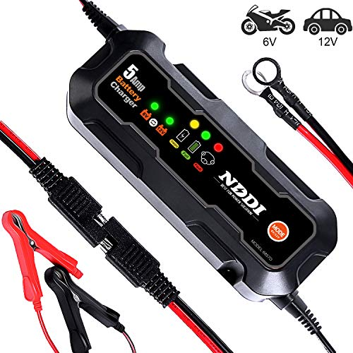 NDDI Automatic Battery Charger, 6V-12V 5000mA Quick Smart Trickle Battery Charger for Motorcycle Car Boat Lawn Mower(5A)