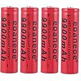 18650 Batería de litio recargable 3.7V 9900mah Seguro Práctico Útil Batería de gran capacidad Adecuado para linterna y radio, Gadgets electrónicos, etc. 4 piezas (Rojo)