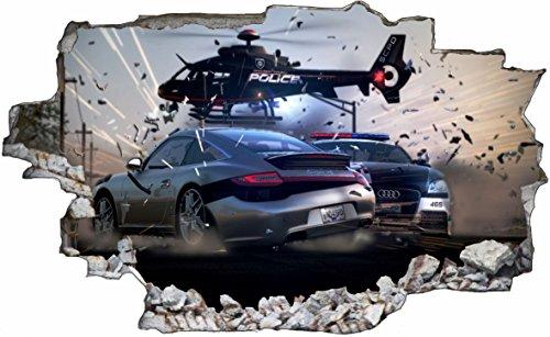 DesFoli Auto Hubschrauber Verfolgungsjagd 3D Look Wandtattoo 70 x 115 cm Wanddurchbruch Wandbild Sticker Aufkleber C545