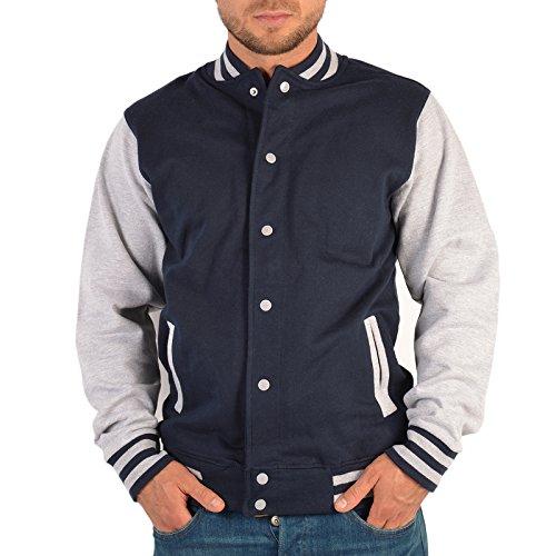 Hochwertige College Herren Jacke Sweatjacke Fliegender Adler USA Fahne Biker Linie - Old School Jacket dunkelblau/grau Gr:XXL :