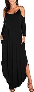 Longra Kleider Damen Sommerkleider Elegantes Bedrucktes /ärmelloses Maxikleid mit V-Ausschnitt und langem Saum und langem Kaftan-Kleid 50er Retro Partykleid