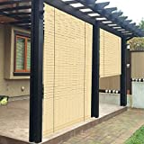 Patio Paradise Exterior Outdoor Roll up Shades Blinds Roller Shade for Porch Deck Balcony Pergola Carport Light Filtering 7'Wx6'H Striped Hollow Out Beige