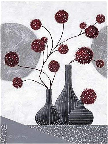 Rahmen-Kunst Keilrahmen-Bild - Claudia Ancilotti: Spirit II Leinwandbild Stillleben floral modern grau (75x100)