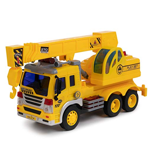 Crane Truck Toy with Light & Sound Effects - Friction Powered Wheels, Extendable Hook & 270 Degrees Rotating Crane - Heavy Duty Plastic Construction Vehicle Toy for Kids & Children by Toy To Enjoy