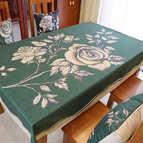 HXC Home groene theal roos tafelkleden katoen linnen rechthoekig ruimte niet strijken milieuvriendelijk tafelkleed