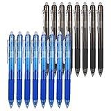 Auidy_6TXD 16 Pezzi Penne Cancellabili, 0.7mm Penna a Sfera Cancellabile Fricion Penna Penna a Inchiostro Gel per Scuola Adulti Articoli Ufficio, Blu & Nero
