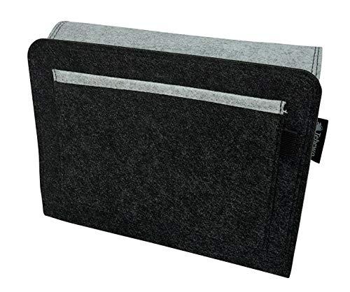 Tebewo Sängorganisatör av filt | robust sänghylla | hängande hylla för sänglåda | sängväska för förvaring av böcker, fjärrkontroll med mera (grå/mörkgrå, 27 cm x 22 cm x 2 cm)