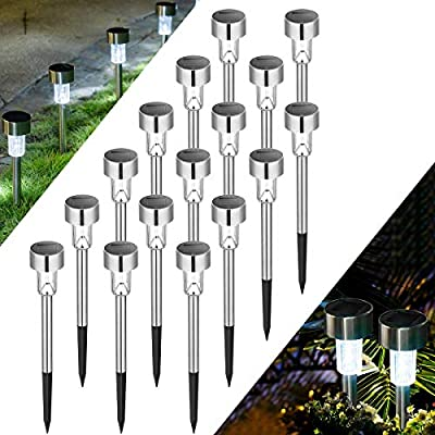 Solpex 16 Pack Solar Lights Outdoor Pathway,Solar Walkway Lights Outdoor,Garden Led Lights for Landscape/Patio/Lawn/Yard/Driveway-Cold White (Stainless Steel)