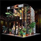 Piezas mecánicas Kit de casa de bricolaje en miniatura Muebles de madera en miniatura Luz LED Regalo Artesanía Casa de muñecas de bricolaje Tiempo Café Modelo de juguete Muebles (Color: Marrón Tama