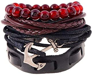 University Trendz Multiple Layers Leather, Rope Chain and Charms Bracelet for Men and Boys (Pack of 4)