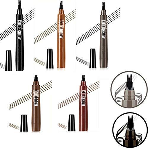 4 punten wenkbrauw pen, 5 kleuren langdurige waterdichte veegvast wenkbrauw pen, veegvast wenkbrauw pen voor natuurlijk gedefinieerde wenkbrauwen
