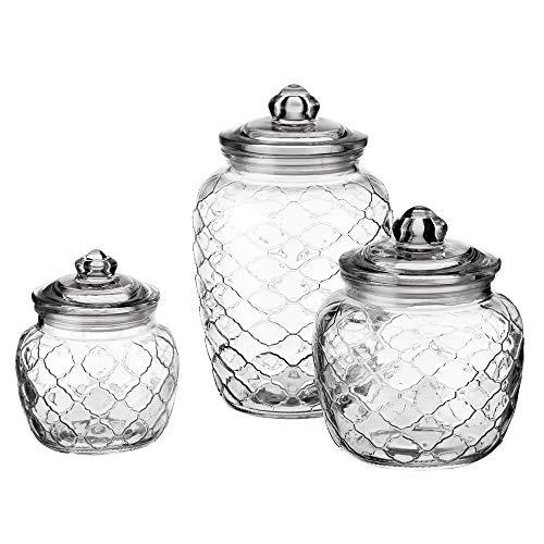 Set de 3 tarros de cristal tallado transparentes clásicos - LOLAhome