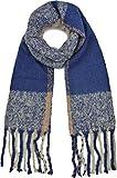 Mantón Mujer Bufanda de invierno XXL Bufanda de otoño Oversized Fringes gris claro gris negro Petróleo azul oscuro azul rosa viejo por ESTABLISHED SEVENTY9, Color: azul