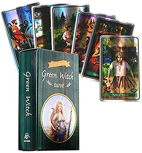 HEZHANG Grüne Hexe Tarotkarten Holographische Tarot-Deck In Englischer Sprache Mit E-Guide Buchen E-Anweisungen Vermögen Erzählen Weibliche Gispielkarten