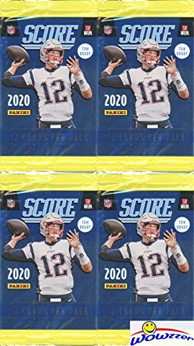 2020 Score NFL Football Collection of FOUR (4) Factory Sealed Packs with 48 Cards! Loaded with RCS & INSERTS! Look for Tom Brady Tribute Cards & RC & AUTOS of Joe Burrow,Tua Tagovailoa & More! WOWZZER
