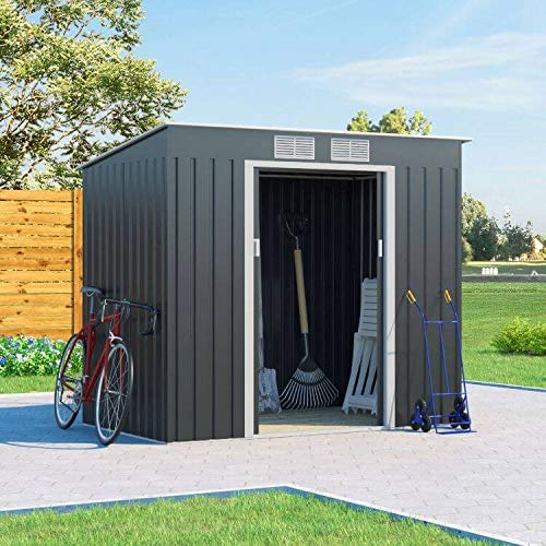 BillyOh Cargo Dark Grey Hot-Dipped Galvanized Pent Metal Garden Storage Shed (7x4)