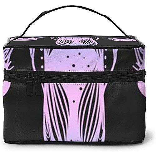 Cabezas y órganos de Gato Estuche portátil de Viaje para Mujer Estuche cosmético Bolsa de Maquillaje Bolsa de Maquillaje de Lavado multifunción Bolsa de Maquillaje de Gran Capacidad