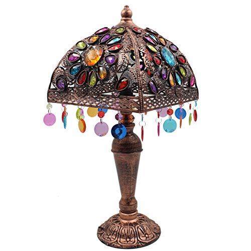 HSLY Tiffany LáMpara Escritorio Retro LED E14 Luz Lectura Estudio con Cuentas de AcríLico y Cuerpo de LáMpara de Hierro Luces de Mesita de Noche para Villa Cuarto y Estudio