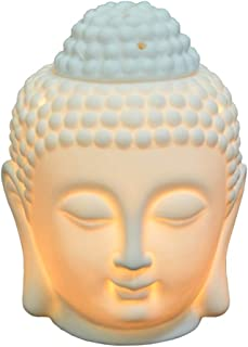 Buddha Head Statue Oil Burner Translucent Ceramic Aromatherapy Diffusers Home Decor (White)