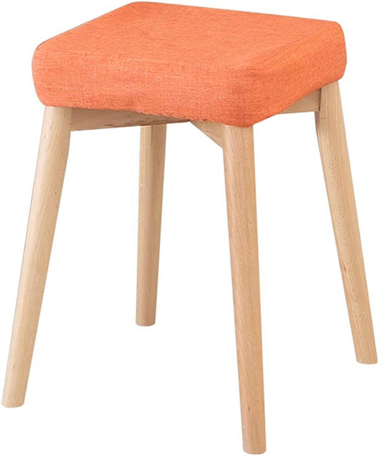 European Chair Solid Wood Dining Stool, Fabric Dressing Stool Nordic Simple Home high Bench (color   C)