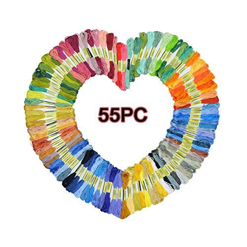 Jennifer Haywood Stickgarn / 55pcs-105pcs Regenbogen-Farben-Stickerei-Kreuzstich-Gewinde-Handwerks-Glasschlacke (Regenbogenfarbe, 55)
