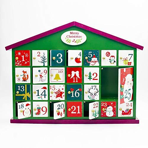 AUEDC Taller de Navidad Adviento Calendario de Madera, Casa de Navidad Calendario de Adviento con 24 Sorpresa Caja Reutilizable para la decoración de Navidad,Verde