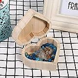 Fournyaa Recipiente de Madera en Forma de corazón, Cajas de Madera Originales de Madera de 4 x 3,5 x 1,7 Pulgadas, para pequeños Regalos para Guardar Joyas