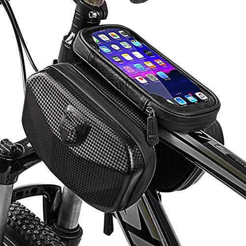 ZBQLKM Bolsa de bicicleta del tubo superior Bolso del marco delantero con pantalla táctil Visa de sol de sol Caja de la gran capacidad Teléfono a prueba de agua Bolsa de bicicleta compatible con 6.0 p
