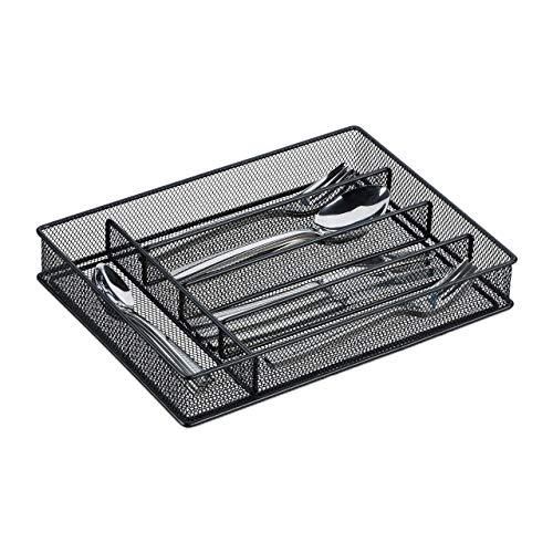 Relaxdays Besteckkasten, Schubladeneinsatz mit 5 Fächern, für Küchenbesteck, Mesh-Design, HxBxT 5,5x23,5x32 cm, schwarz