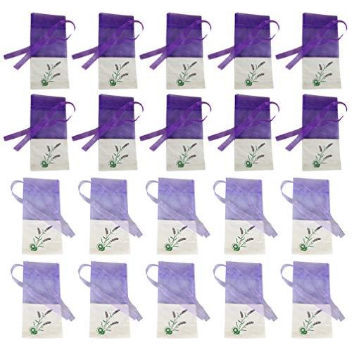 CLISPEED Lavendel Beutel Leere Tasche Duft Lavendelsäckchen Organzabeutel Süßigkeitstaschen Kordelzugbeutel Sack Motten Duftsäckchen Gewürzbeutel für Kleiderschrank 20 Stück
