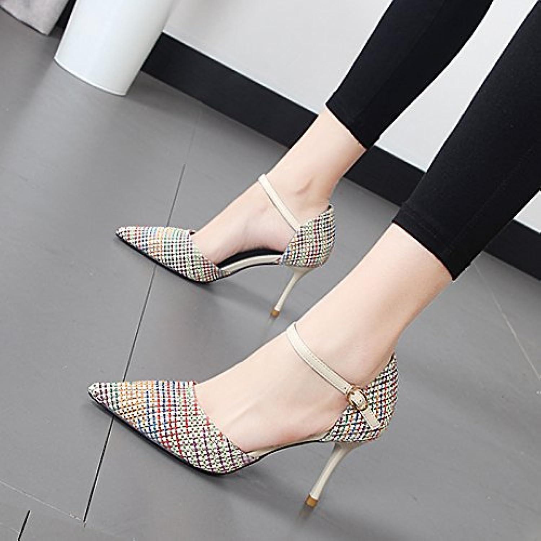 Xue Qiqi high-heel Schuhe Frauen schlitz Raster zum Andocken an die Spitze des hohlen und stilvolle einzelne Schuhe