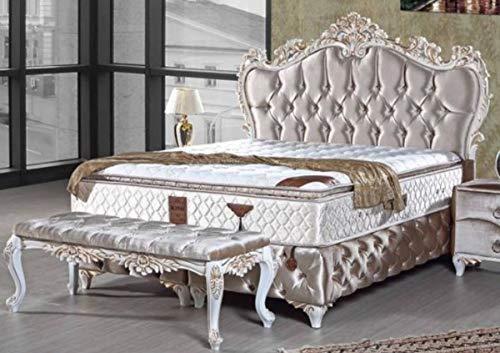 Casa Padrino Barock Doppelbett Silber/Weiß/Gold - Prunkvolles Samt Bett mit Glitzersteinen und Matratze - Schlafzimmer Möbel im Barockstil