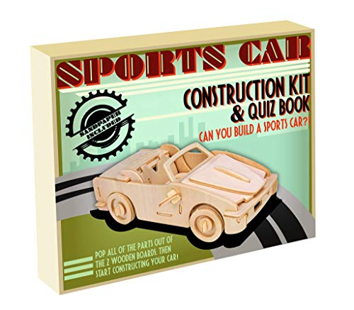 Professor Puzzle Construction Club Sports Car - Wooden sports car construct & paint set - DIY 3D Model Kit / Wooden Jigsaw Puzzle
