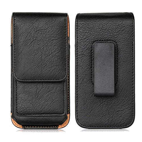 Belt Clip Case for Blu C6 2019 / J6 / G9 Pro/Vivo X6, Orbic Wonder Factory, ROKiT IO Pro 3D Premium Leather Holster Pouch Magnetic Vertical Waist Phone Bag Rotating Belt Clip & ID Card Holder