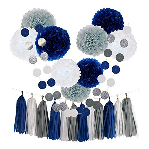 Yaootely 23Pcs Tissue Paper Flowers Pom Poms Party Girl Decorations Tassel Garland for Wedding Bridal Shower Graduation Bachelorette Celebrate Graduate Supplies (Navy Blue+White+Grey)