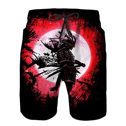 Hombres Verano Secado rápido Pantalones Cortos Playa El Fantasma del samurái de pie sobre el Fondo de la Luna de Sangre Trajes de baño Correr Surf Deportes-S