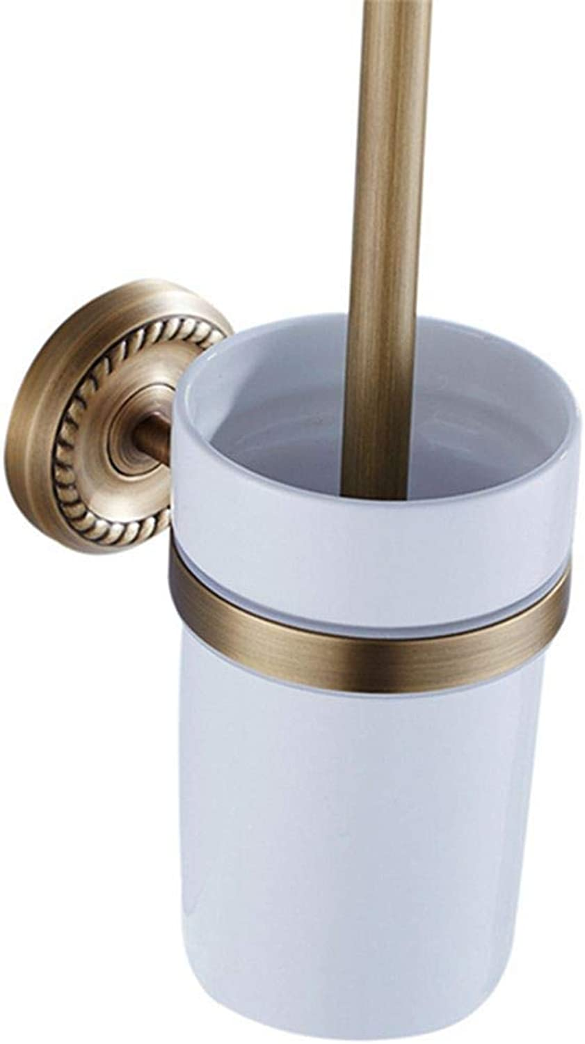 LUDSUY Antique Brass with Ceramic Cup Wall-Mounted European Brass Toilet Brush Holder Bathroom Accessories