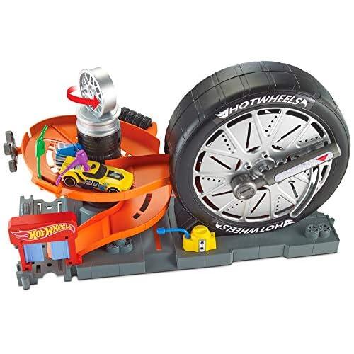 Hot Wheels-La Ruotofficina Playset per Macchinine con Loop a Forma di Ruota Gigante con Leva e La Rampa a Spirale, Gioco per Bambini di 4 + Anni, FNB17