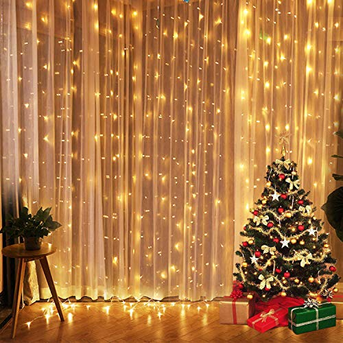 Fairy Light Curtain 3m 300LED Warm White 9.8ft x 9.8ft Waterfall Fairy Lights Party Wedding Backdrop Hanging Wall Fairy Lights Christmas Window String