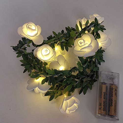 YUDIZWS Flores Artificiales Guirnalda Rosa, Flor Verde de la Flor Guirnalda Brillante, Guirnalda Luminosa para decoración de Boda Sala de Fiesta,3 mètres 20 lumières 90g