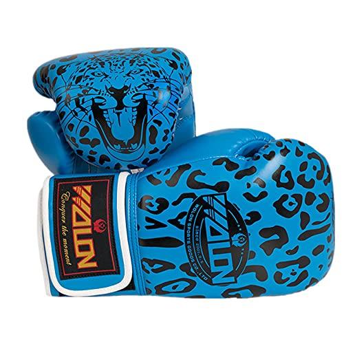 zeenca Boxhandschuhe,Muay Thai, Männer und Frauen, Anzug für MMA Boxing Sparring TrainingBoxen Leopard Erwachsene Handschuhe EIN Paar-Walong Leopard Blue._10 Unzen