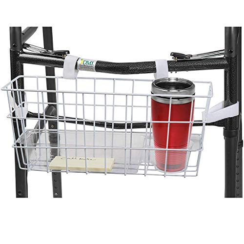 HealthSmart Universal Walker Storage Basket with Insert Tray and Cup Holder, No Tools Needed, White
