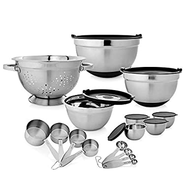 23-Piece Stainless Steel Bakeware Kitchen Set Includes Anti-Skid Bowls and Prep Bowls with Inside Lid, Measuring Cups, Colander and Measuring Spoons