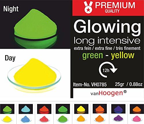 van Hoogen Leucht-Pulver fluoreszierend :: Glüh-Pulver mit Streuer 100gr. GELB-GRÜN
