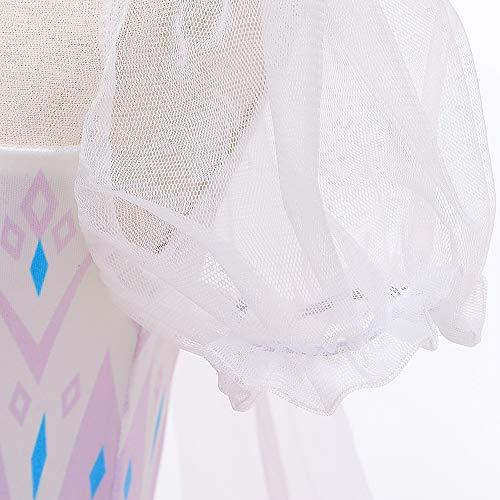O.AMBW Vestido con Capa Fija Manga Larga Falda Multicapa Color Azul Violeta Degradación Disfraz Frozen Cosplay Princesa para Carnaval Disfraces Fiesta de Halloween para Niñas de 2 a 9 años