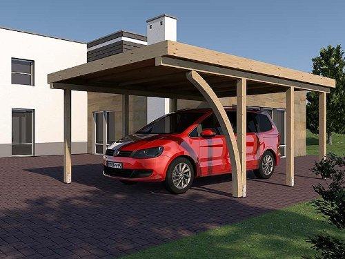 Carport Flachdach IMOLA I 400 x 600 cm KVH mit Leimholzbogen Konstruktionsvollholz