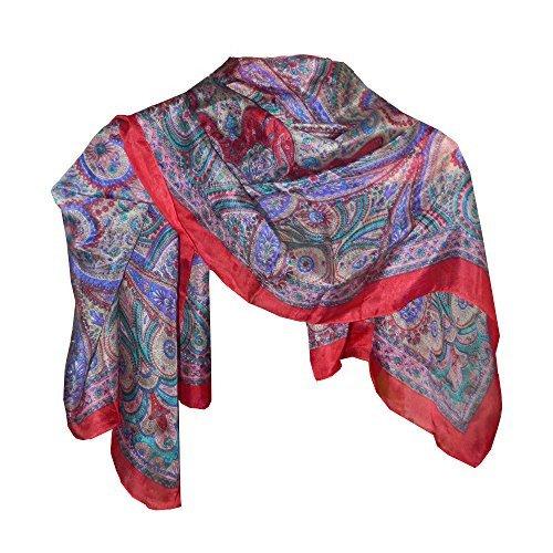 indischerbasar.de Pañuelo seda rojo 100x100cm estilo cachemira paisley fular accesorio India