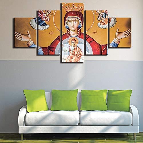 myvovo (Marco de Madera) Marcos Modernos para Pinturas Lienzo Decorativo Impresiones de Arte 5 Paneles Virgen María Cuadro de la Pared para la decoración casera Pintura niños habitación